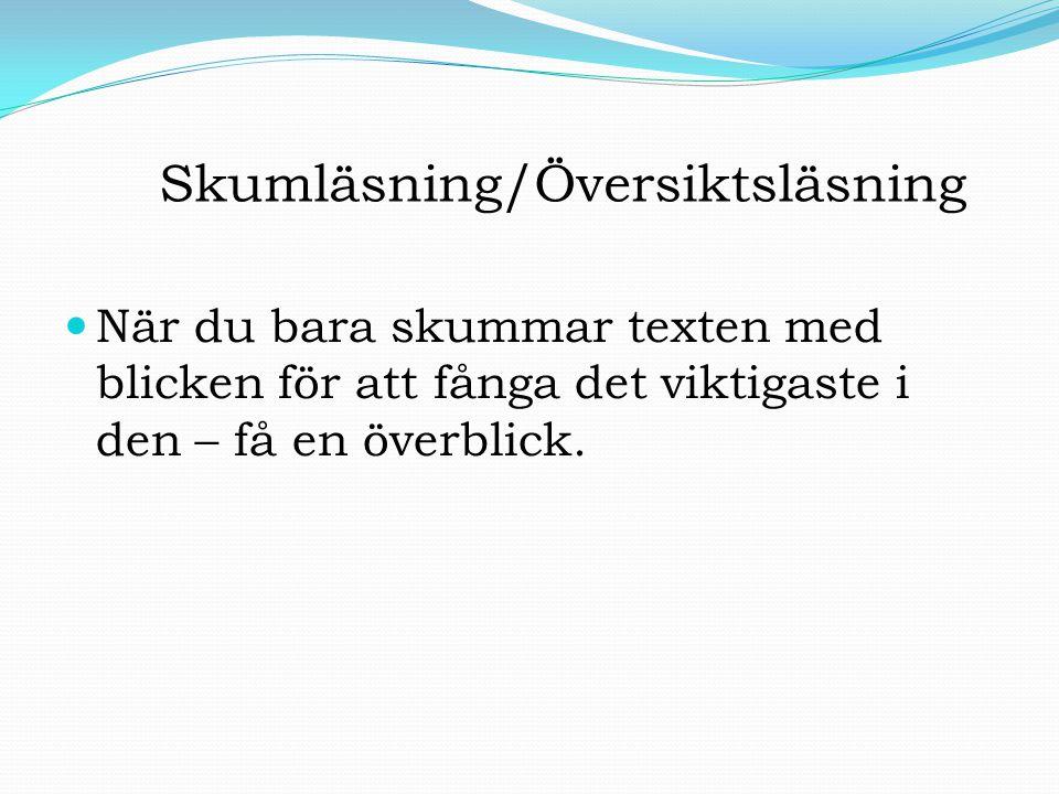 Skumläsning/Översiktsläsning