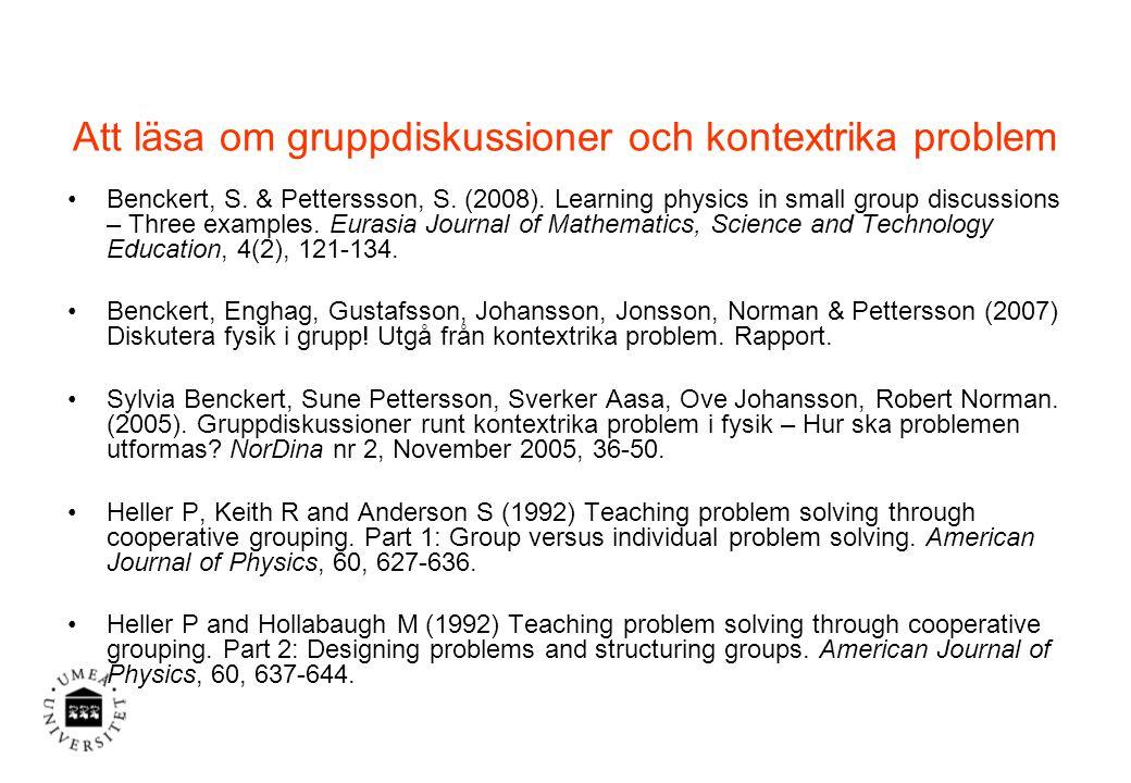 Att läsa om gruppdiskussioner och kontextrika problem