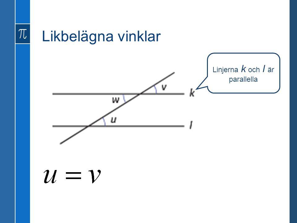 Linjerna k och l är parallella