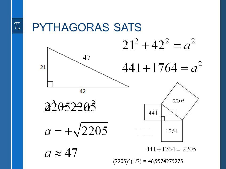 PYTHAGORAS SATS a Skogssnäppa (2205)^(1/2) = 46,9574275275
