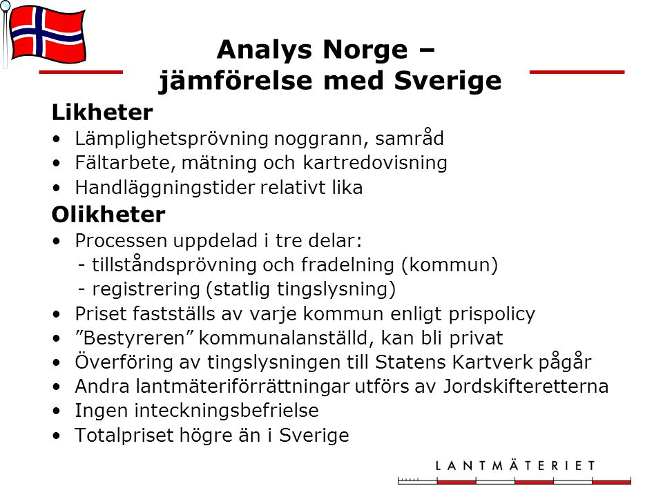 Analys Norge – jämförelse med Sverige