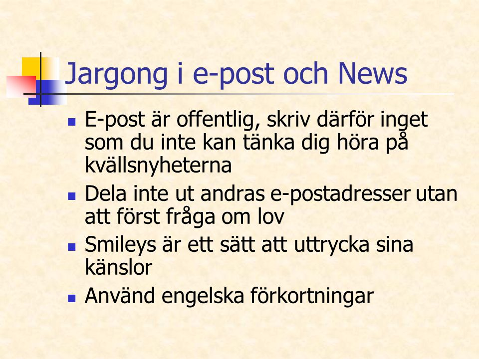 Jargong i e-post och News
