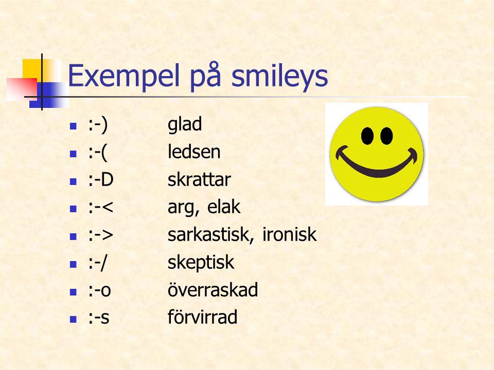 Exempel på smileys :-) glad :-( ledsen :-D skrattar :-< arg, elak