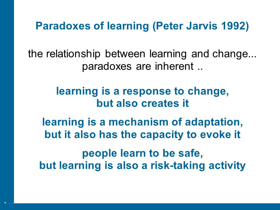 Paradoxes of learning (Peter Jarvis 1992)