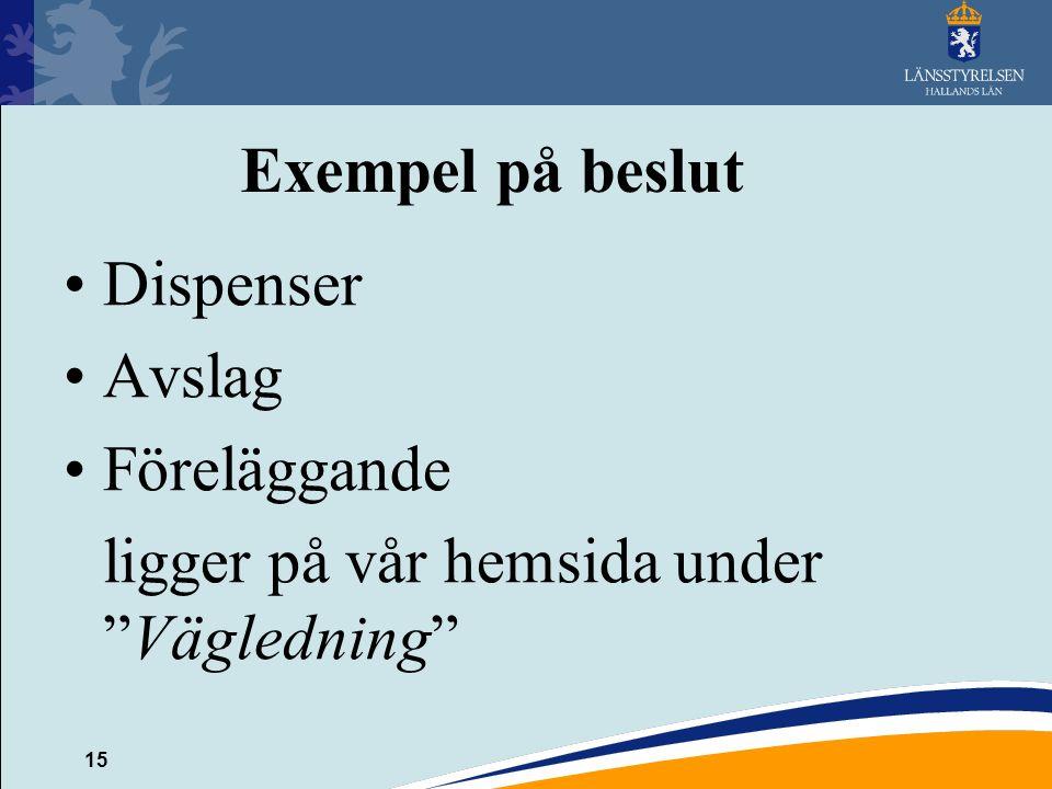 Exempel på beslut Dispenser Avslag Föreläggande ligger på vår hemsida under Vägledning