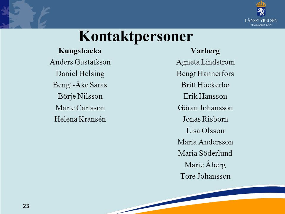 Kontaktpersoner Kungsbacka Varberg Anders Gustafsson Agneta Lindström