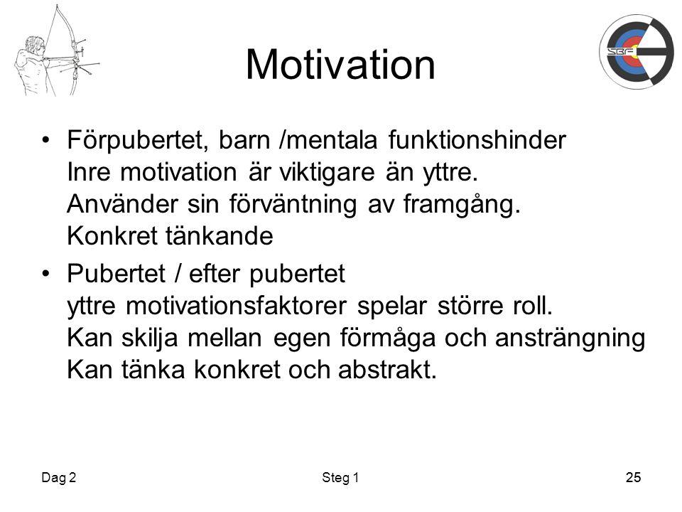 Motivation Förpubertet, barn /mentala funktionshinder Inre motivation är viktigare än yttre. Använder sin förväntning av framgång. Konkret tänkande.
