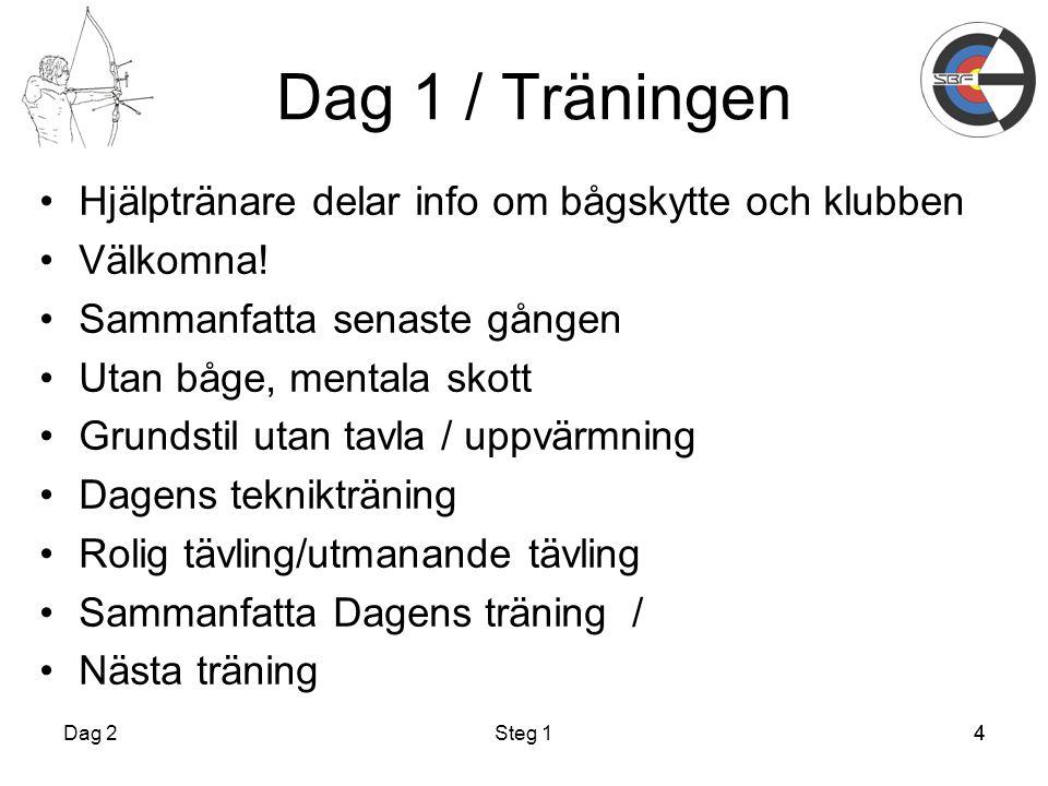 Dag 1 / Träningen Hjälptränare delar info om bågskytte och klubben