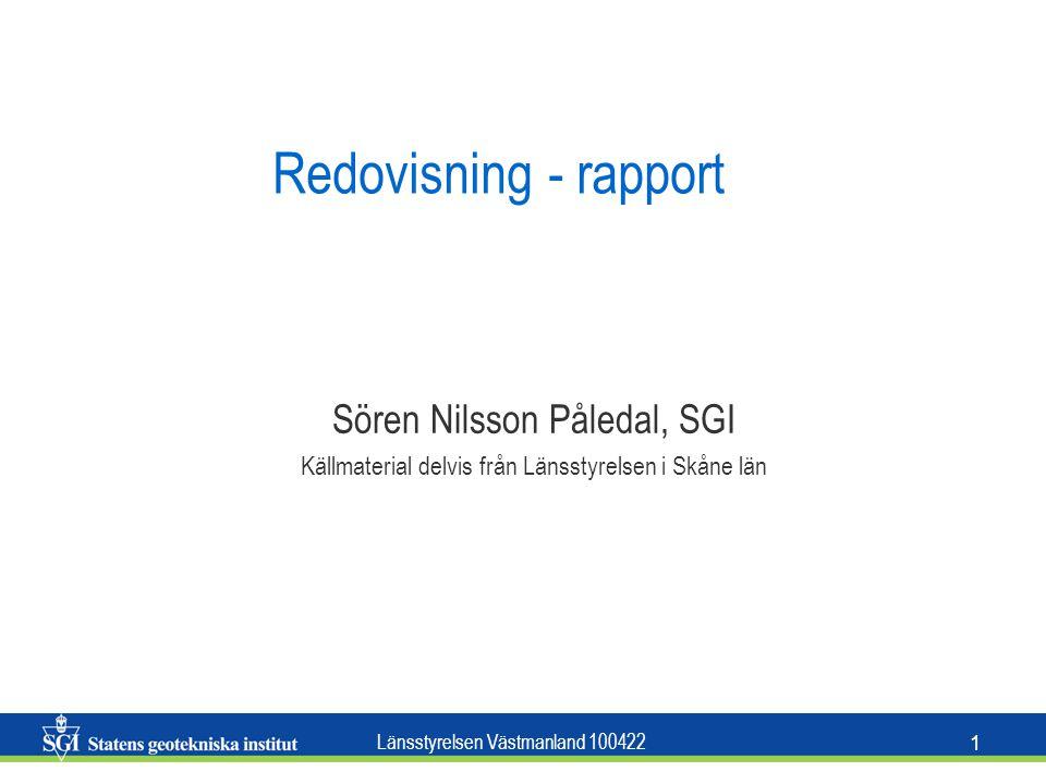 Redovisning - rapport Sören Nilsson Påledal, SGI