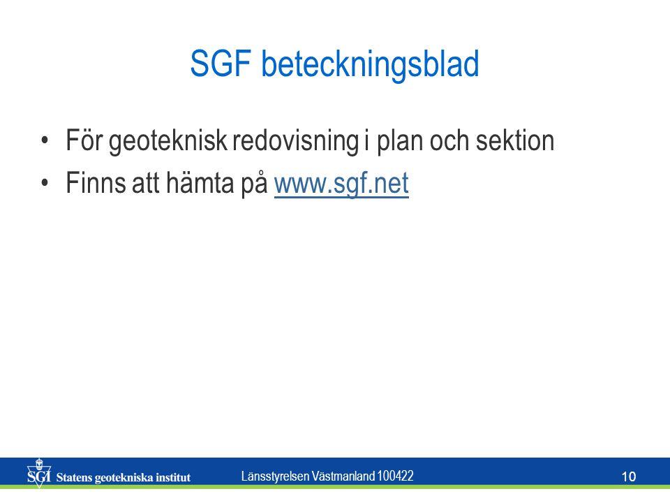 SGF beteckningsblad För geoteknisk redovisning i plan och sektion