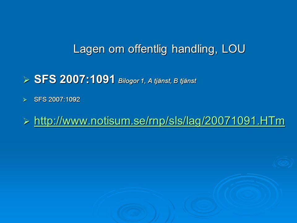 Lagen om offentlig handling, LOU