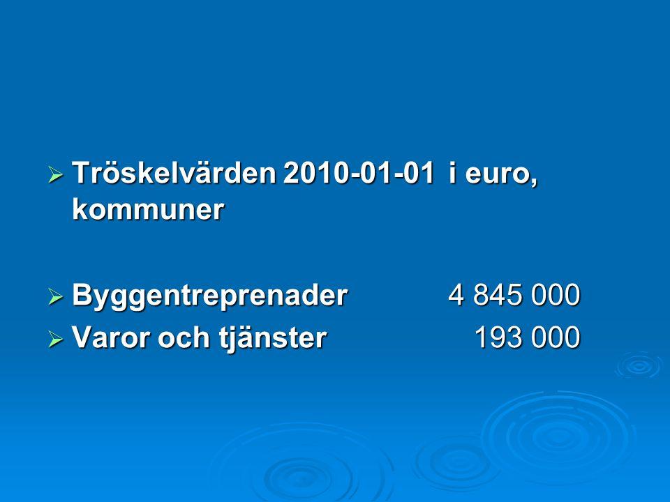 Tröskelvärden 2010-01-01 i euro, kommuner