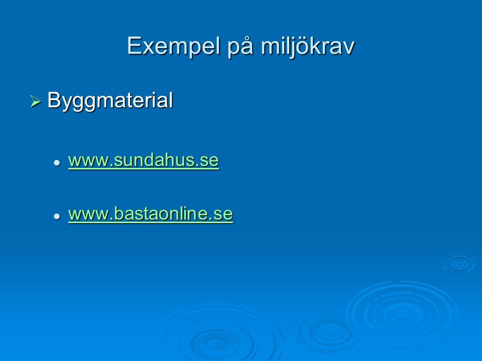 Exempel på miljökrav Byggmaterial www.sundahus.se www.bastaonline.se