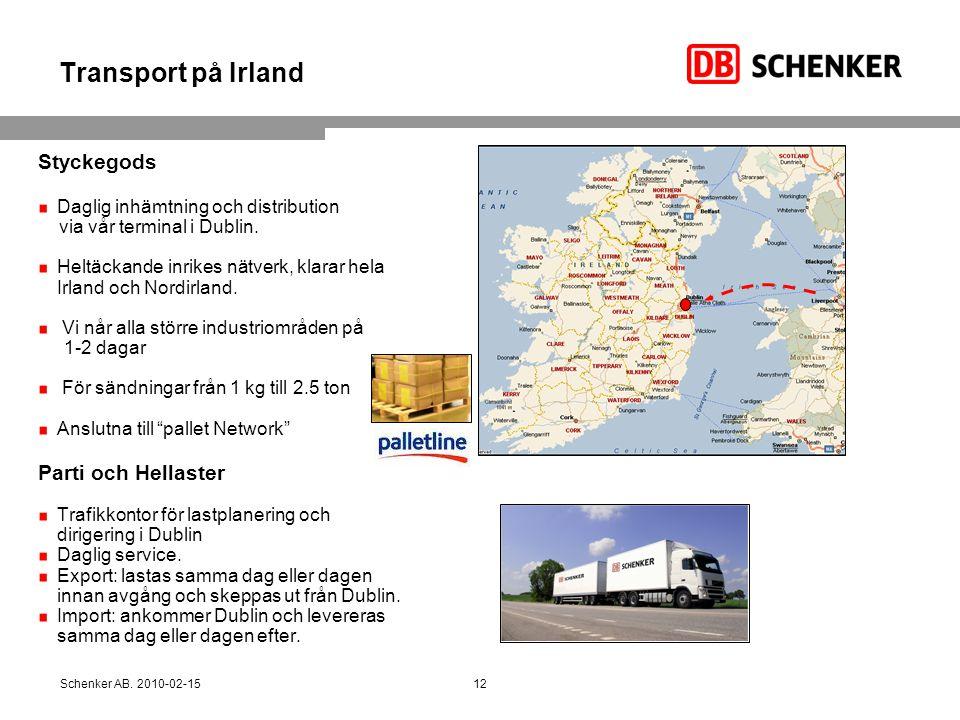 Transport på Irland Styckegods Parti och Hellaster