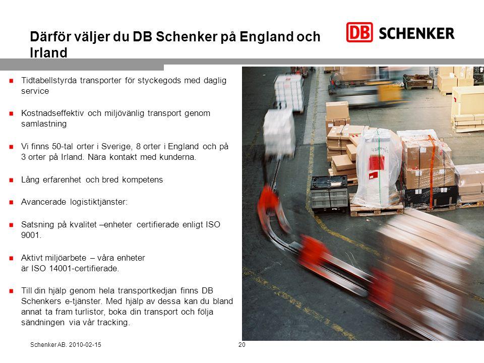 Därför väljer du DB Schenker på England och Irland