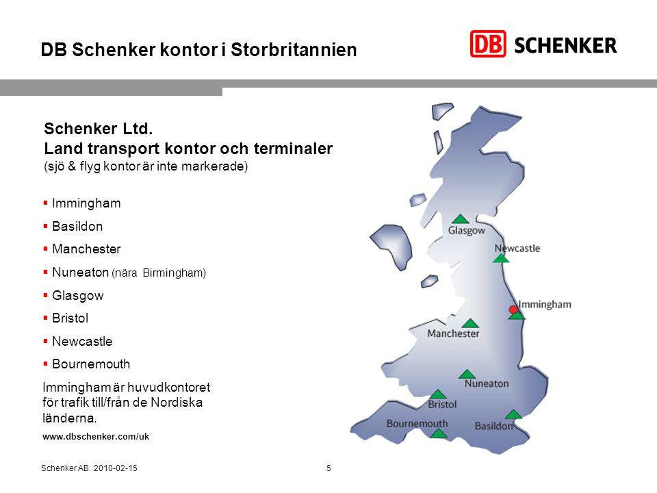DB Schenker kontor i Storbritannien