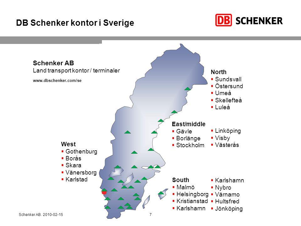 DB Schenker kontor i Sverige