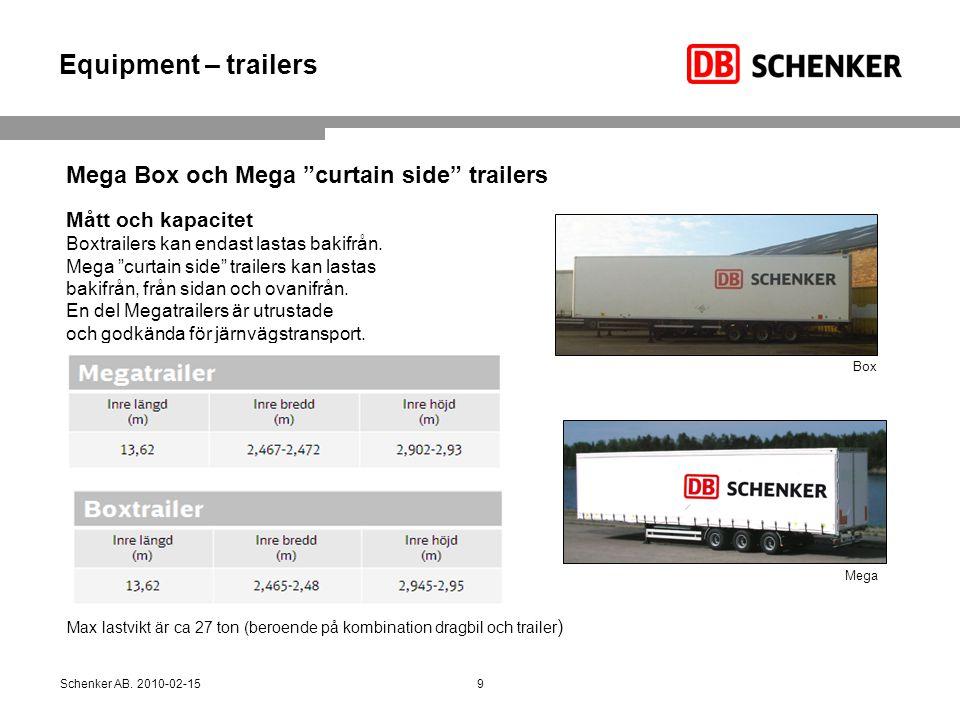 Equipment – trailers Mega Box och Mega curtain side trailers