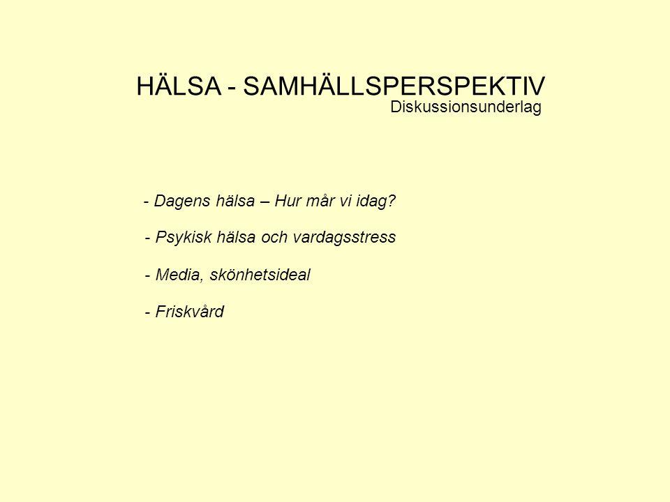HÄLSA - SAMHÄLLSPERSPEKTIV