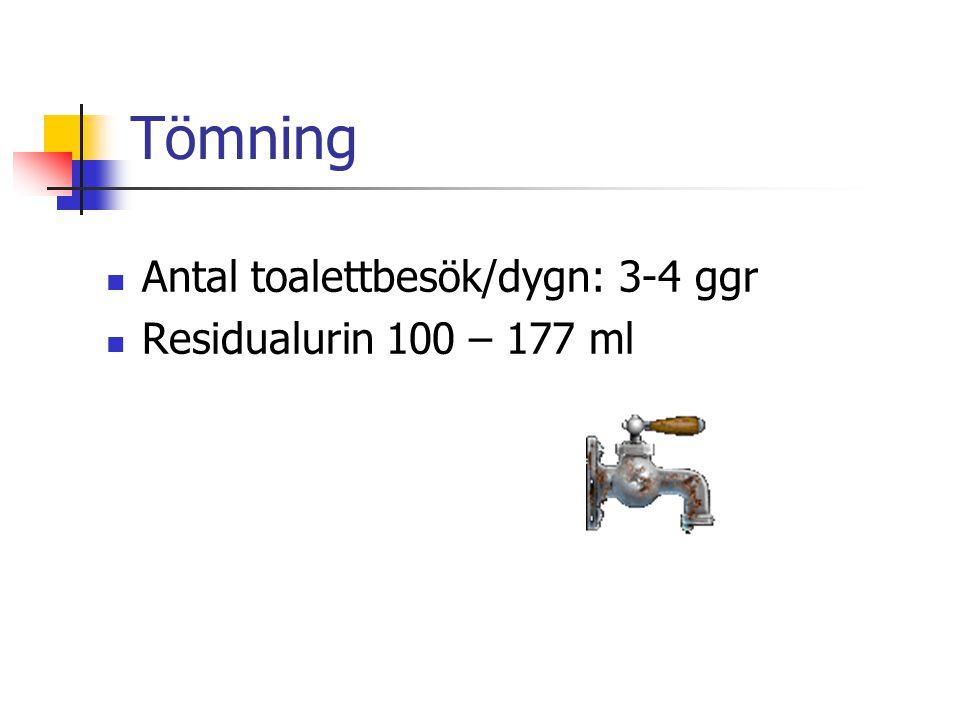 Tömning Antal toalettbesök/dygn: 3-4 ggr Residualurin 100 – 177 ml