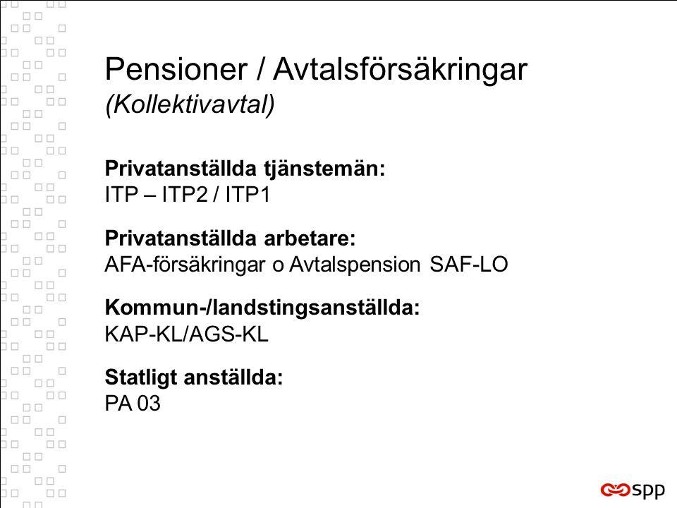 Pensioner / Avtalsförsäkringar