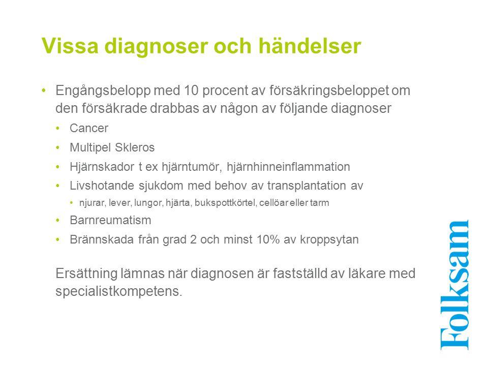 Vissa diagnoser och händelser