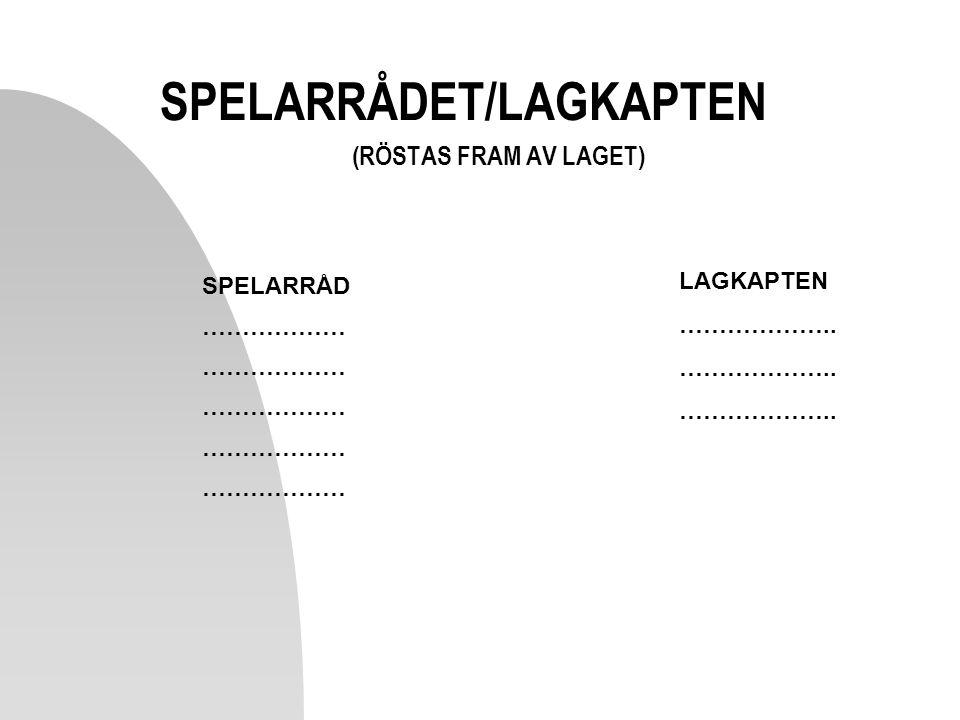 SPELARRÅDET/LAGKAPTEN (RÖSTAS FRAM AV LAGET)