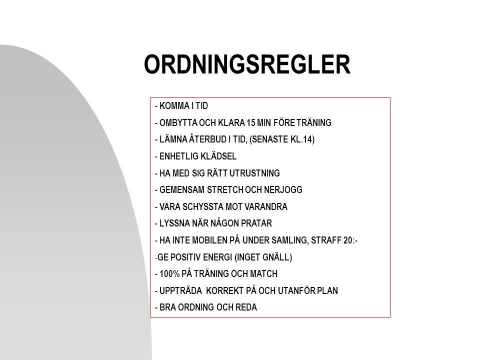 ORDNINGSREGLER - KOMMA I TID - OMBYTTA OCH KLARA 15 MIN FÖRE TRÄNING