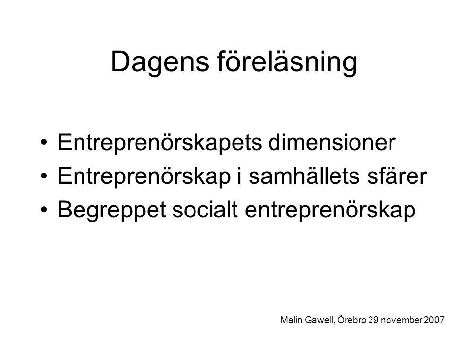 Dagens föreläsning Entreprenörskapets dimensioner