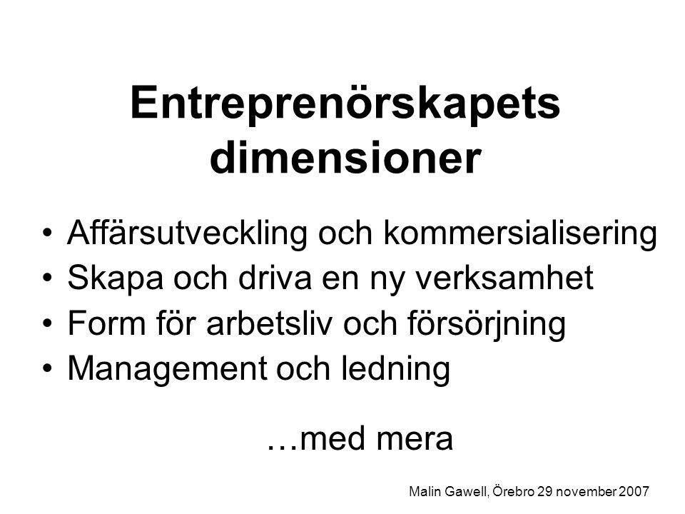 Entreprenörskapets dimensioner