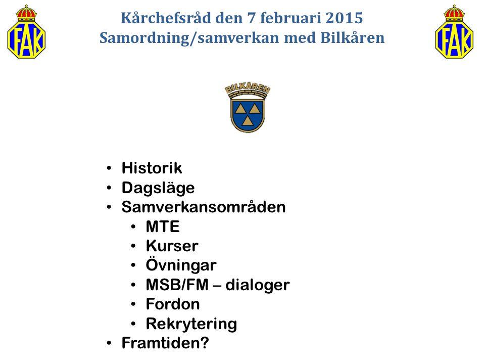 Kårchefsråd den 7 februari 2015 Samordning/samverkan med Bilkåren