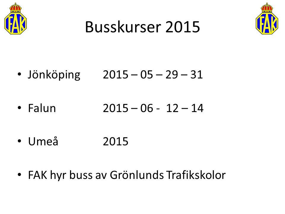Busskurser 2015 Jönköping 2015 – 05 – 29 – 31