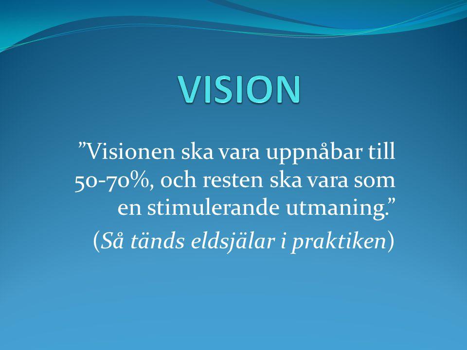 VISION Visionen ska vara uppnåbar till 50-70%, och resten ska vara som en stimulerande utmaning. (Så tänds eldsjälar i praktiken)