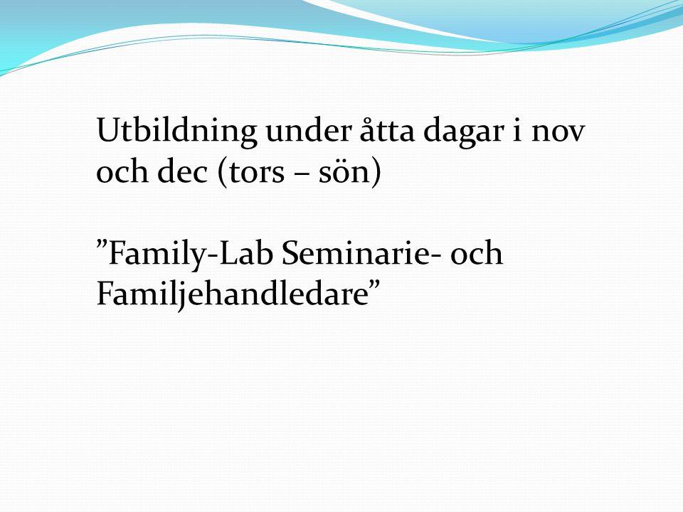 Utbildning under åtta dagar i nov och dec (tors – sön) Family-Lab Seminarie- och Familjehandledare