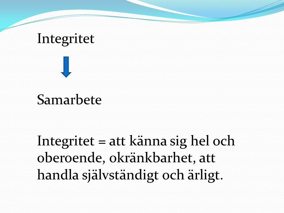 Integritet Samarbete Integritet = att känna sig hel och oberoende, okränkbarhet, att handla självständigt och ärligt.