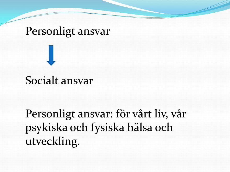 Personligt ansvar Socialt ansvar Personligt ansvar: för vårt liv, vår psykiska och fysiska hälsa och utveckling.