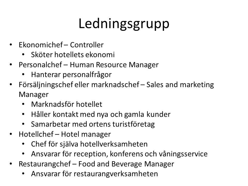 Ledningsgrupp Ekonomichef – Controller Sköter hotellets ekonomi