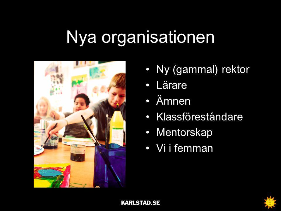 Nya organisationen Ny (gammal) rektor Lärare Ämnen Klassföreståndare