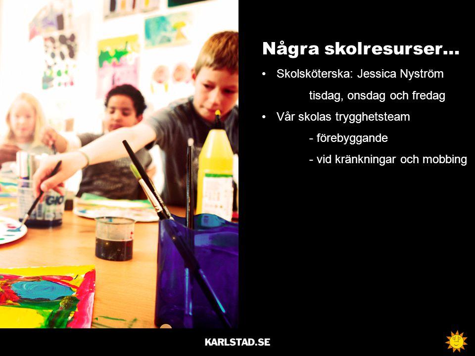 Några skolresurser… Skolsköterska: Jessica Nyström