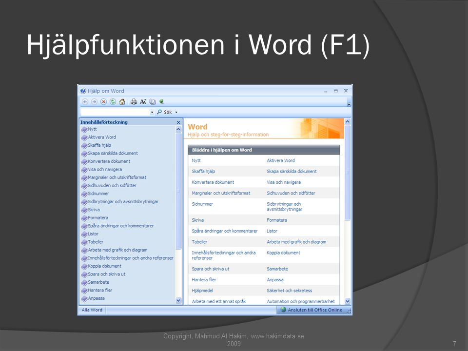 Hjälpfunktionen i Word (F1)