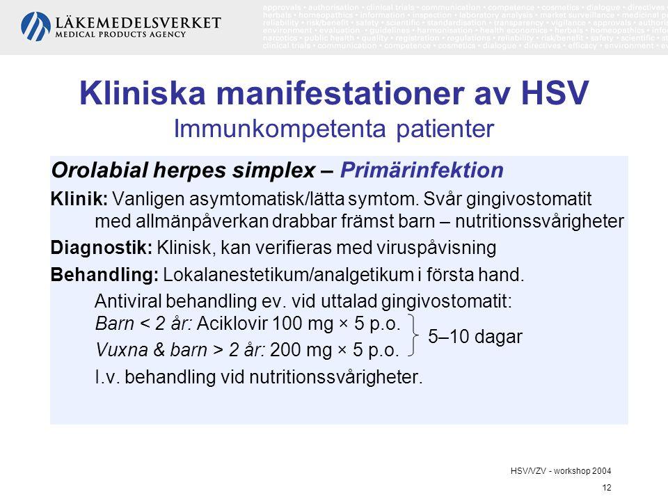 Kliniska manifestationer av HSV Immunkompetenta patienter