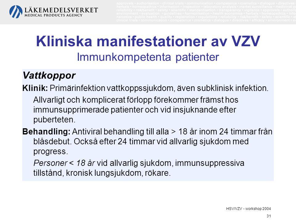 Kliniska manifestationer av VZV Immunkompetenta patienter