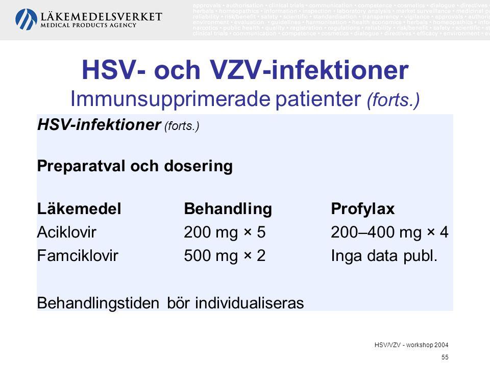 HSV- och VZV-infektioner Immunsupprimerade patienter (forts.)