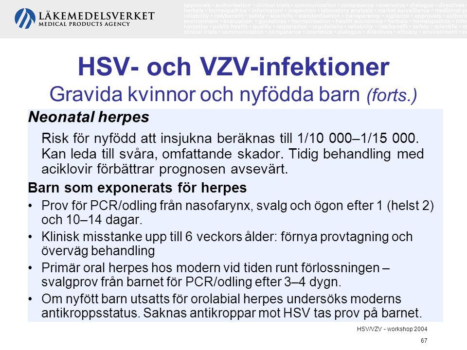 HSV- och VZV-infektioner Gravida kvinnor och nyfödda barn (forts.)