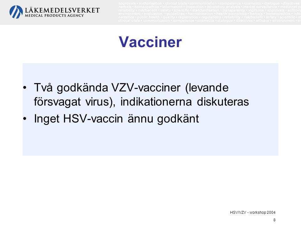 Vacciner Två godkända VZV-vacciner (levande försvagat virus), indikationerna diskuteras. Inget HSV-vaccin ännu godkänt.