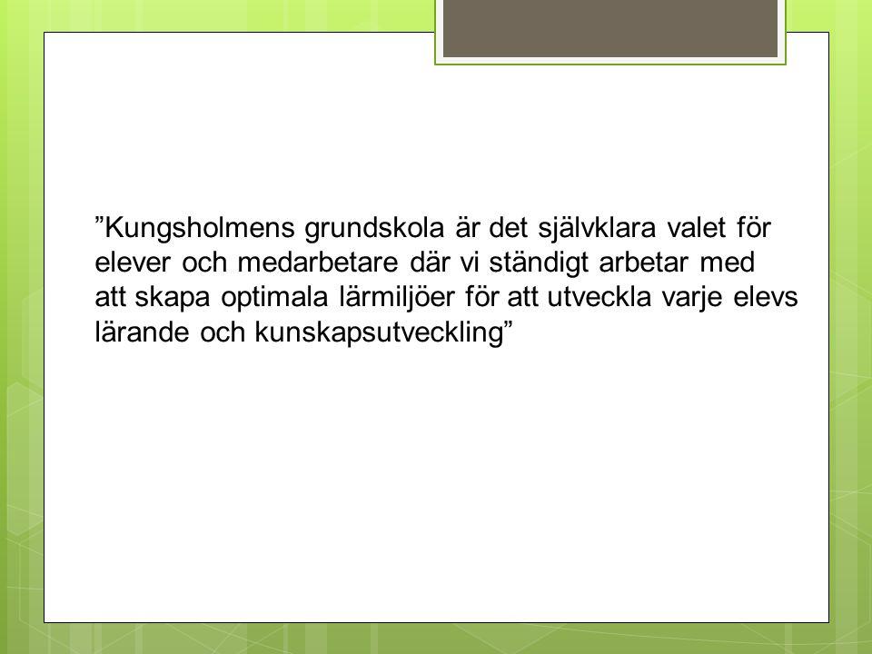Kungsholmens grundskola är det självklara valet för elever och medarbetare där vi ständigt arbetar med