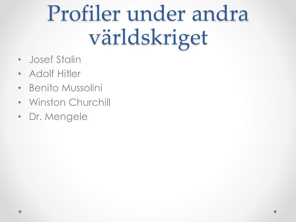 Profiler under andra världskriget