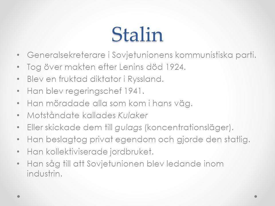 Stalin Generalsekreterare i Sovjetunionens kommunistiska parti.