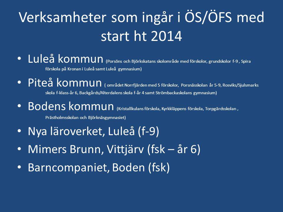 Verksamheter som ingår i ÖS/ÖFS med start ht 2014