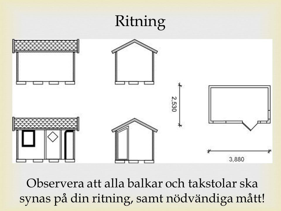 Ritning Observera att alla balkar och takstolar ska synas på din ritning, samt nödvändiga mått!
